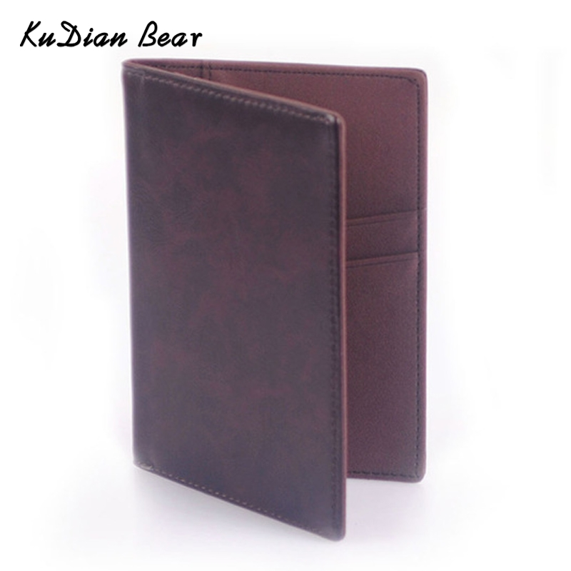 KUDIAN BEAR The Cover Of Passport Cover Casual Business Card Holder Men Credit Card ID Holders Leather Card Bag BID021 PM
