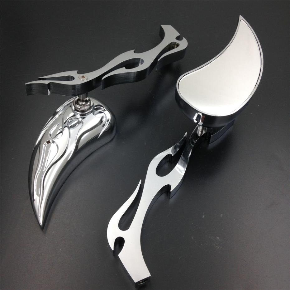 Aftermarket free shipping motorcycle parts Motor Billet Alloy TEARDROP FLAME Custom Mirror softail FatBoy Sportster