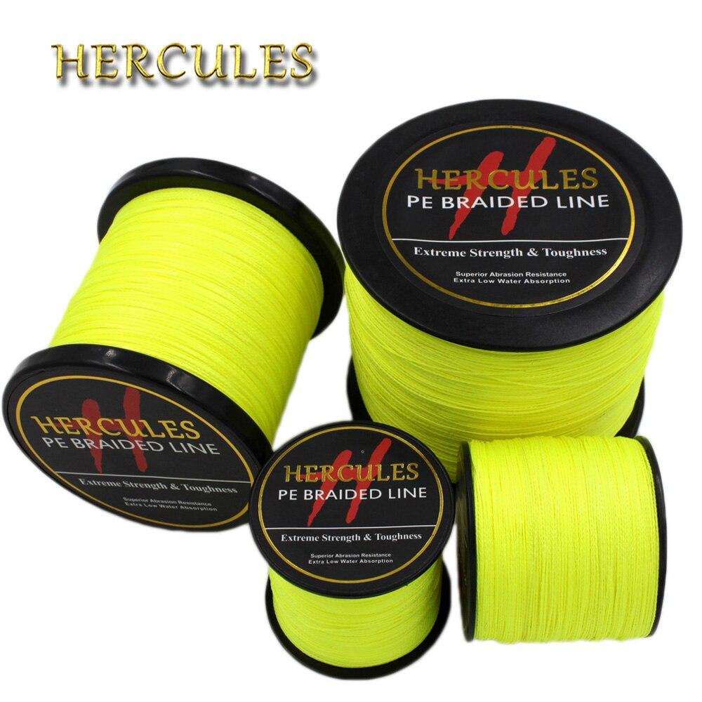 Hercules 4 Strands 100M 300M 500M 1000M 1500M 2000M PE Fluorescent Yellow Braided Fishing Line Sea Extreme Carp Fishing Line цены