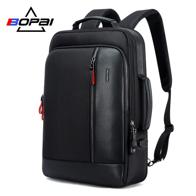 BOPAI Oxford กันน้ำ Bagpack กระเป๋าเป้สะพายหลังสำหรับชาย Mochila ความจุสามารถขยาย Cool Mens กระเป๋าเป้สะพายหลังกระเป๋านักเรียน-ใน กระเป๋าเป้ จาก สัมภาระและกระเป๋า บน   1