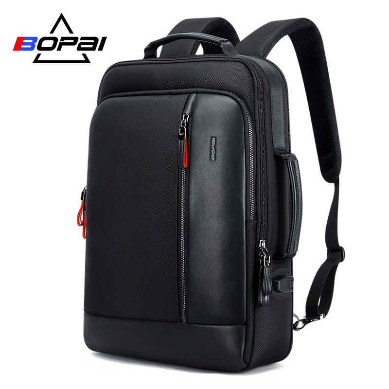 BOPAI Oxford Waterproof Bagpack Travel Backpacks for Men Mochila Capacity Can Be Enlarged Cool Mens Backpacks Shoulder Schoolbag-in Backpacks from Luggage & Bags