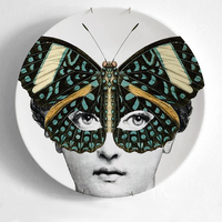 New 8 Inch Fornasetti Plates Home Decoration Christmas Dinner Plate Decorative Wall Dishes Porcelain Wall Hanging Art Plates