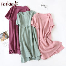 Summer 2019 Pregnant Sleepwear Dress Short Sleeve Cotton Pregnant Nightgown For Pregnant Women Maternity Sleeping Dress Fdfklak(China)