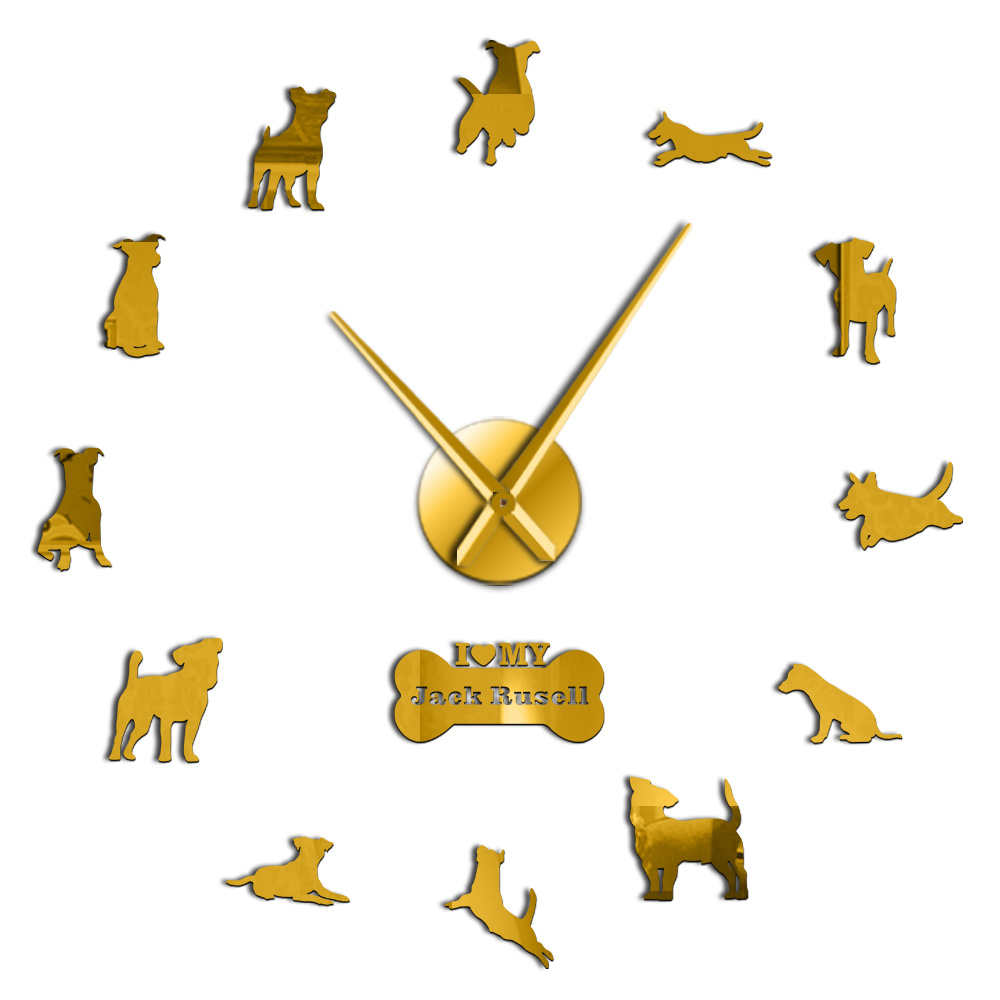Pitbull 3D DIY Wall Clock Dog Puppy Animals Wall Stickers for Living Room Gifts