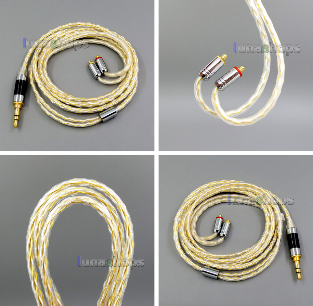 8 core 2.5mm 3.5mm 4.4mm Balanced MMCX Pure OCC silver Gold Plated Earphone Cable For Shure SE535 SE846 Se215 Custom LN006038 цена