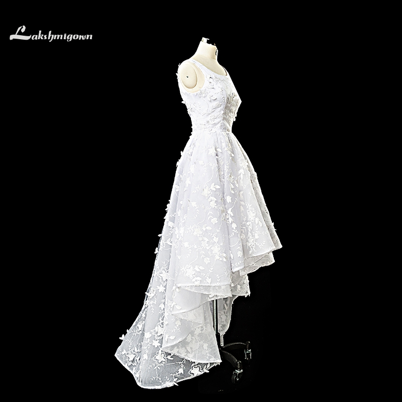 Modest Scoop 3D Lace High Low Wedding Dresses 2017 White Ivory Sweep Train Backless wedding Gowns Custom Made robe de mariage
