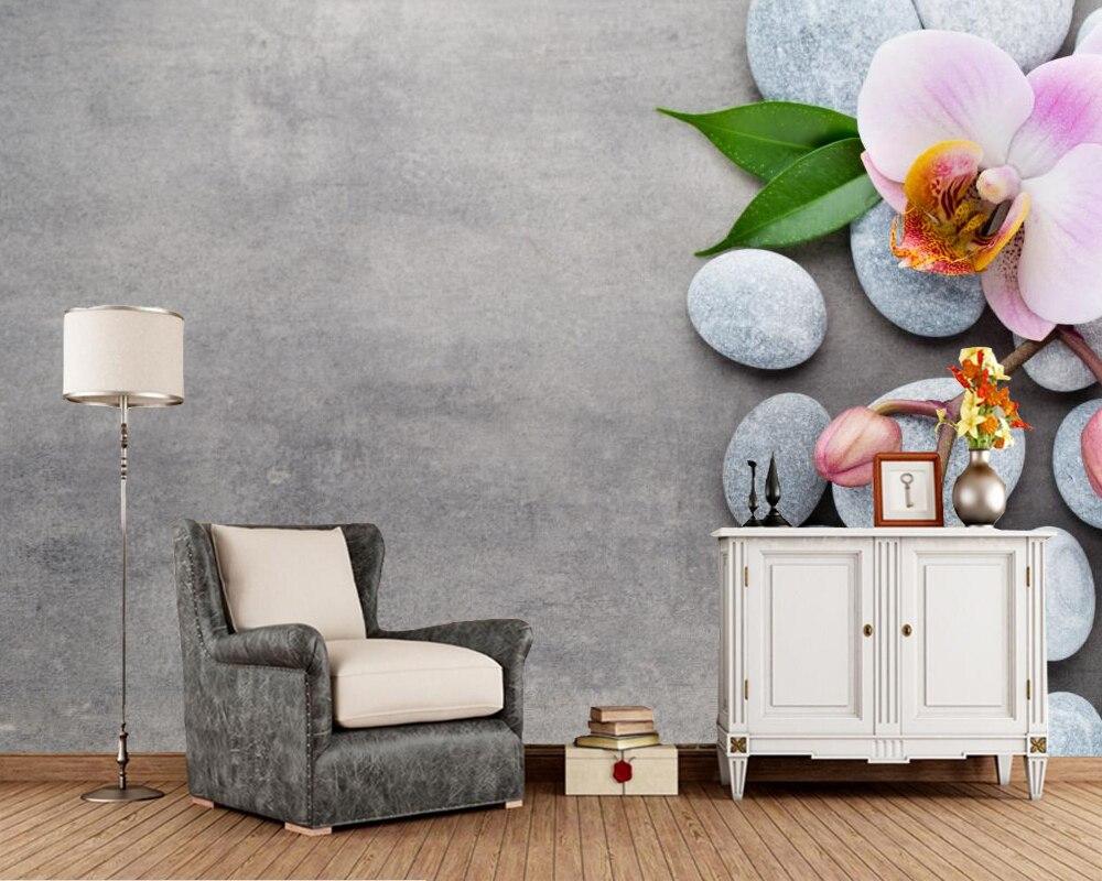 Wallpaper steine blumen  Steine Orchidee Blumen fototapete, wohnzimmer schlafzimmer sofa tv ...