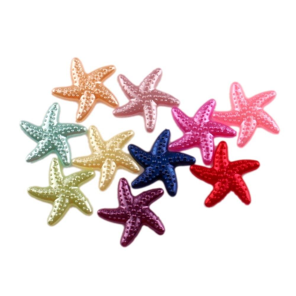 LF Mixed Starfish Craft ABS Resin Half Pearls Flatback Cabochon Beads For Cloth Needlework DIY Scrapbooking Decoration 100PCS(China)