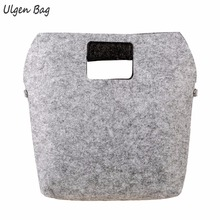 New Solid Color Felt Cloth Casual Shopping Totes Woman Gray&Burgundy hobo Polyester Bags Laptop Top-handle bags