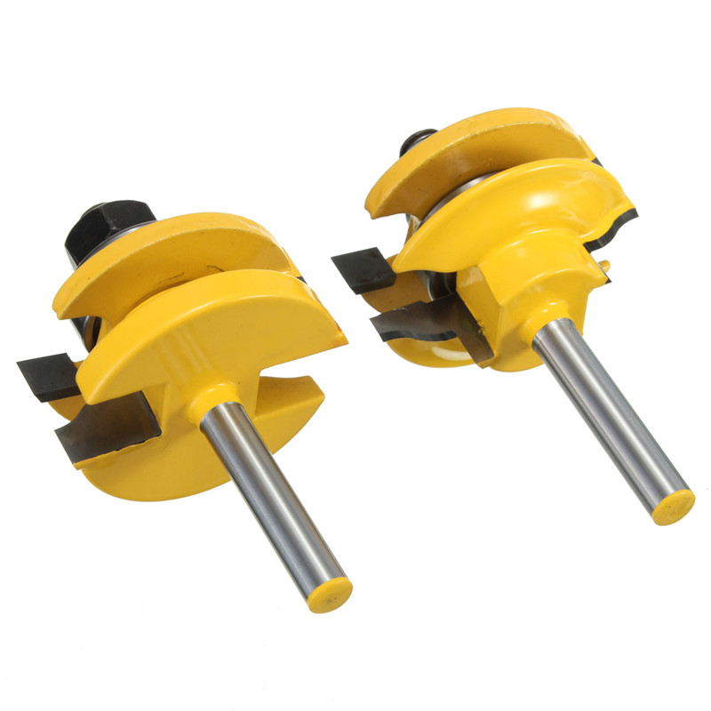 2Pcs/set Rail And Stile Wood Router Bit Set Standard Ogee1/4 Inch Shank Woodworking Chisel Cutter Power Tool Kit Top Quality high grade carbide alloy 1 2 shank 2 1 4 dia bottom cleaning router bit woodworking milling cutter for mdf wood 55mm mayitr