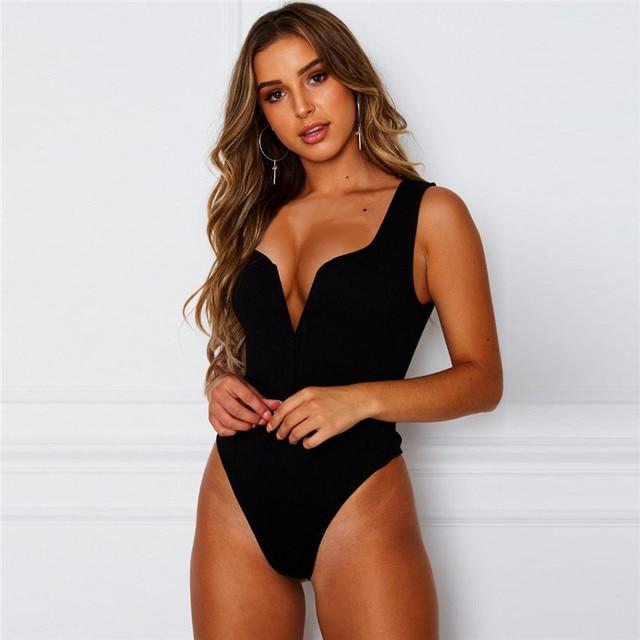 Ahagaga 2019 Summer Solid Bodycon Bodysuit Women Sleeveless Deep V-neck Romper Fashion Streetwear Casual Elegant Women Jumpsuits