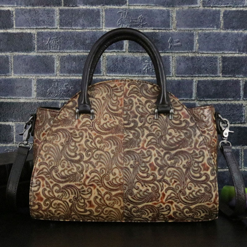 Natural Skin Women Cross Body Shoulder Messenger Bags Luxury Genuine Embossed Leather Vintage Tote Handbag Female Top Handle Bag