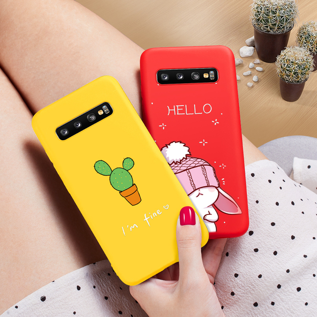ASINA Samsung Galaxy S10 S10 Plus S10e Cute Animal 3D Relief Case Silicone Back Cover
