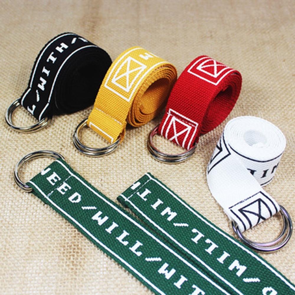 Fashion Neutral Nylon Canvas Belt Printing Letter D Ring Double Buckle Belt CZL8429