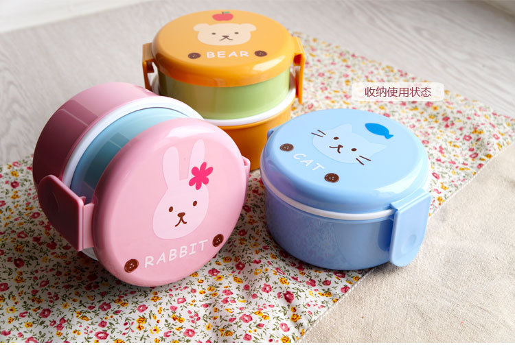 3 Styles Eco-friendly Japan Style Double Tier Bento Lunch Box PP Cute Meal Box Tableware Microwave Oven Dinnerware Picnic Set