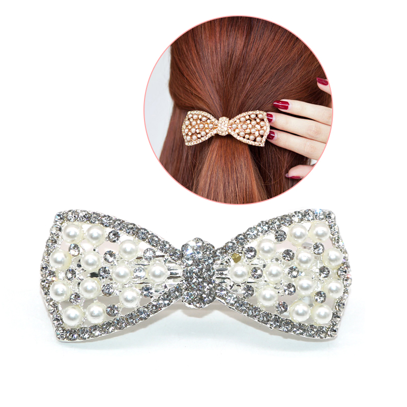 Scrunchy Crystal Rhinestone Bow Girls Hair Clips Hair Accessories Hair Clips For