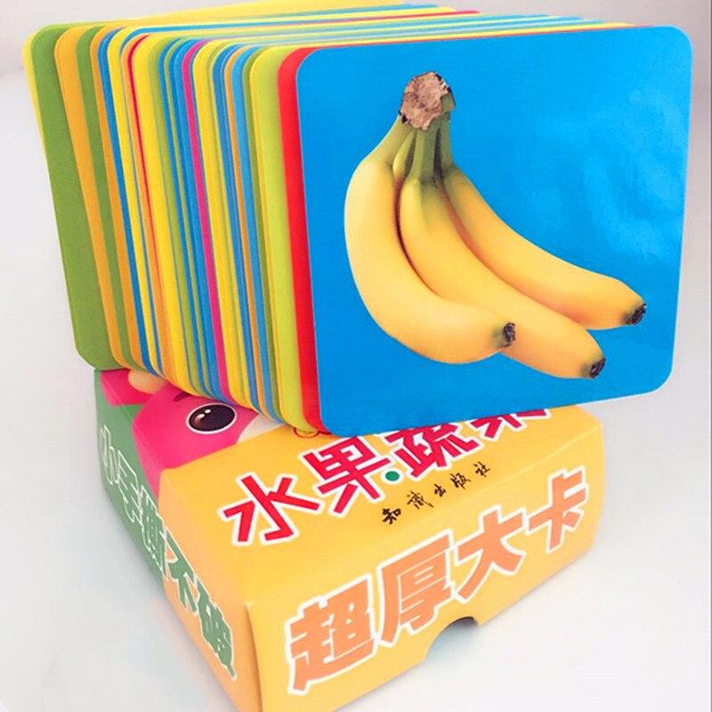 44 pcs Bébé Carte Livres Montessori Early Enfants Lecture Jouets Image et Légumes & Fruits Papier Cartes Jouets Éducatifs Pour enfants