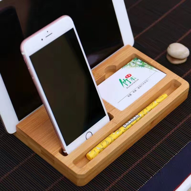 Sofalami M4 Multi-function Universal Bamboo Wood Holder Bracket Card Pen case Wooden contracted Desktop For iPad pad Call Phone7
