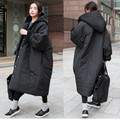 2016 Winter New Women Fashion Thickening Trench Ka Ulorezzang  Long Loose Cotton Casual Hooded Trenchcoat