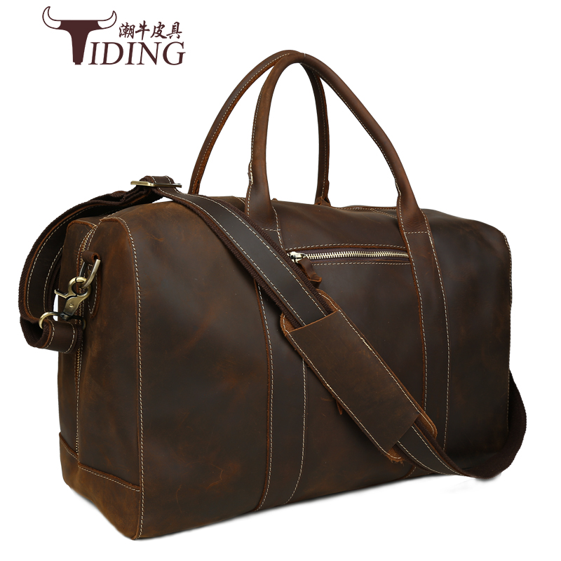 Men s vintage crazy horse leather travel bag 18 Genuine leather travel duffle cowhide large tote