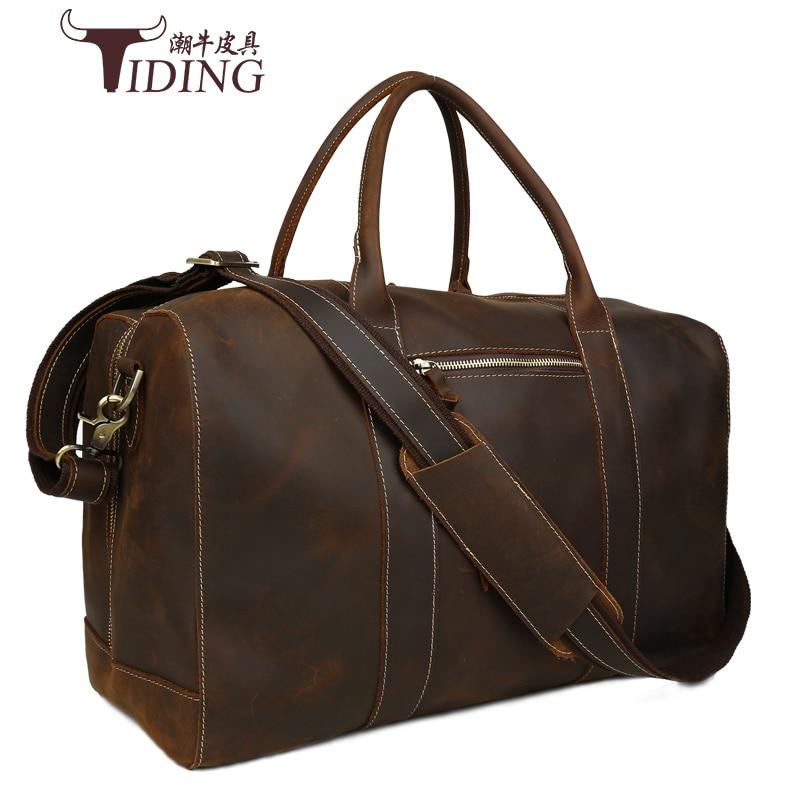 Mens vintage crazy horse leather travel bag 18 Genuine leather travel duffle cowhide large tote bag Large messenger bag