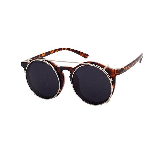 e8a2271ee خمر جولة النظارات النساء الرجال ريترو مزدوجة الطبقات المزدوجة الغرض بلج في عدسات  نظارات الشمس ل