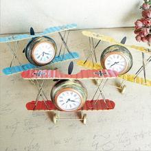 Reloj de avión de mesa Retro de Metal DIY modelo de Avión Vintage vino Bar tienda decoración escritorio asiento reloj niños regalo