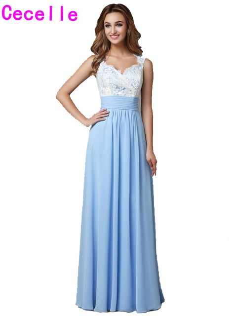 2019 Real Blue Beach Bridesmaid Dresses Long With Straps Open Back Lace Top Chiffon Skirt Women Formal Wedding Party Gowns Sale
