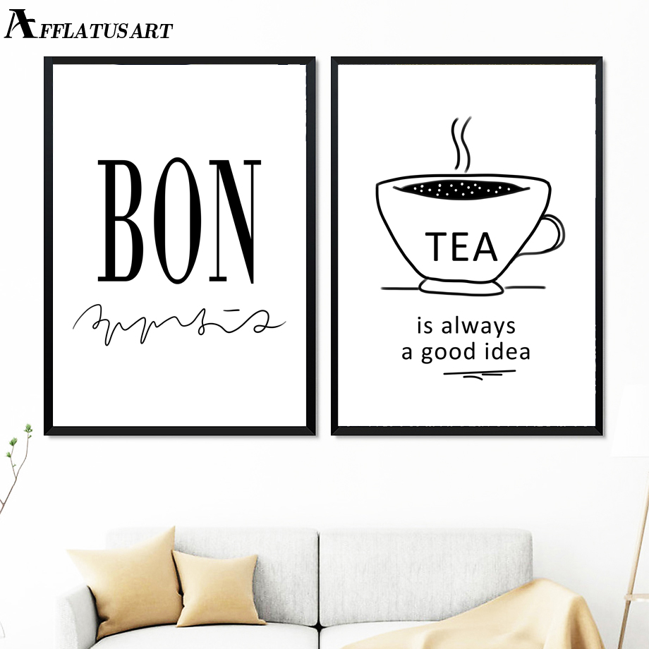 bon tea coffee quotes nordic posters and prints wall art canvas
