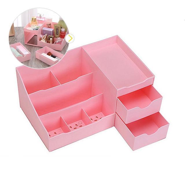 High Quality Cosmetic Jewelry Organizer Holder Box Storage Case Plastic  Drawer Pink Storage Box Desktop DIY