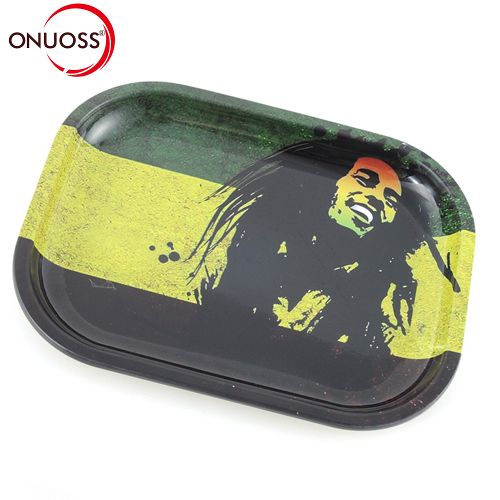 ONUOSS Mini 18cm Tobacco Rolling Tray Storage Plate Discs for Smoke Bob Marley Weed Herb Grinder Cigarette Container Tray 003Z