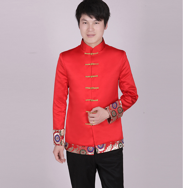 Chinese men's clothing Traditional Groom wedding Chinese Ancient Costume Red Tunic Tang Suit Gown Dress Cotton Hanfu
