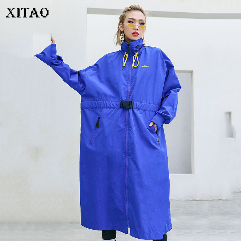 [XITAO] Straight New Wide-waisted Women Korea Fashion Turn-down Collar Full Sleeve Solid Color Long Casual Pocket   Trench   LYH3337