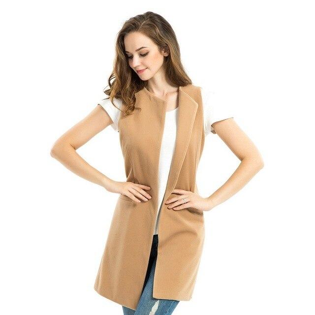 CAYA КОРОБКА 2016 осенняя мода Полушерстяные Camel длинные жилет женщины основные пальто плюс размер Жилет Без Рукавов Пальто