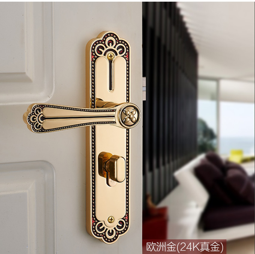 bedroom kitchen bookroom door lock yellow bronze wooden room door lock