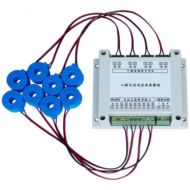 Eight Way AC Current Acquisition Module MODBUS-RTU Protocol RS485 Current Measurement modbus rtu protocol rs485 232 interface 24 way analog acquisition 6 relay output module