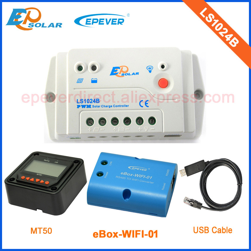 PWM 12v/24v auto type solar regulator 10A LS1024B with wifi function and USB cable for conmmunication use MT50 remote meter PWM 12v/24v auto type solar regulator 10A LS1024B with wifi function and USB cable for conmmunication use MT50 remote meter