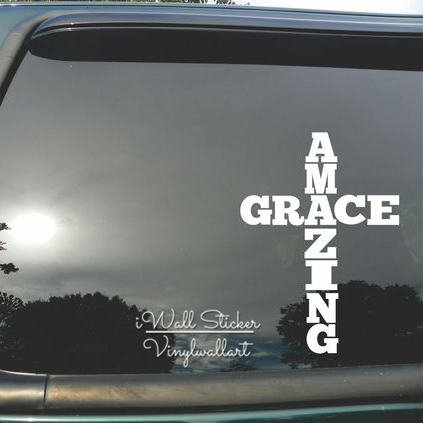 Amazing grace car sticker quotes car decal diy amazing grace car decors waterproof car stickers high quality cut vinyl ca11 in wall stickers from home