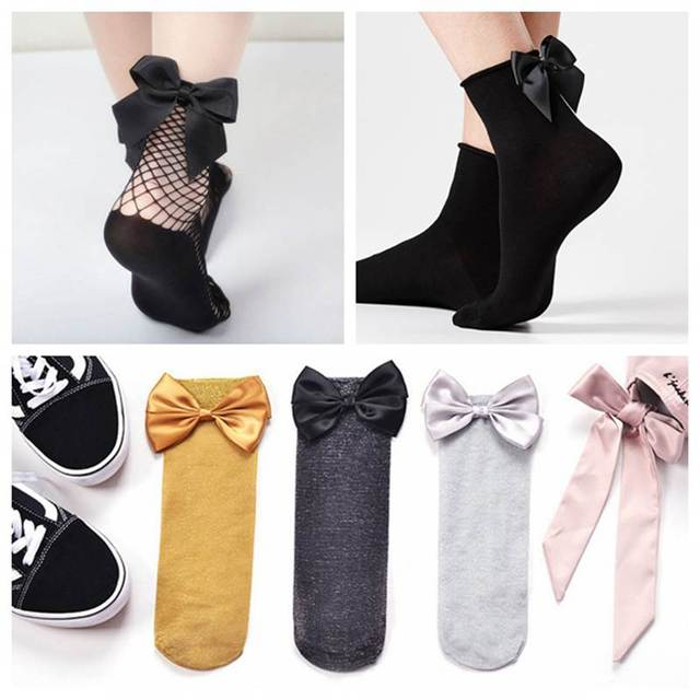 5bbe4eeec Summer Autumn Fashion Girls Black Fishnet Socks Hollow Out Mesh Lace Ankle  Socks With Big Bow