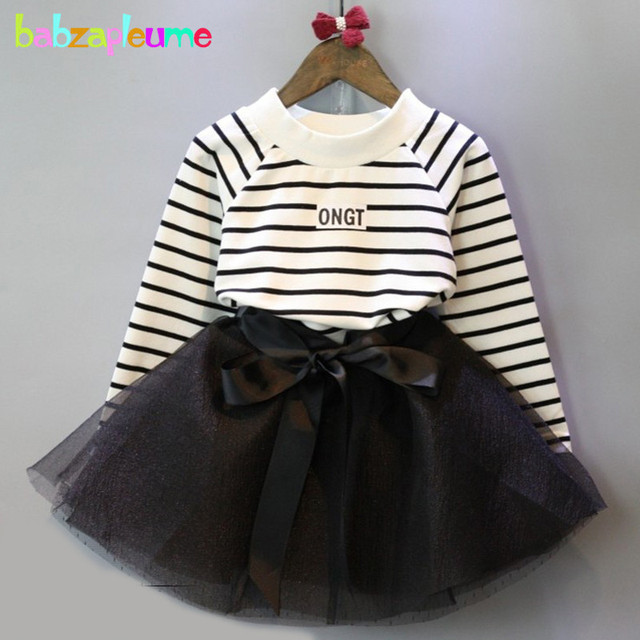 927aade6781a7 babzapleume Spring Autumn Baby Outfits Toddler Girls Clothes Stripe T-shirt+Black  Tutu Skirt Children Clothing Set 2Piece BC1218
