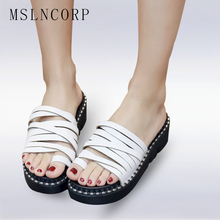 Size 34-44 Fashion Summer women flat Crystal platform slippers sandals slip on white flip flop wedge beach slides Casual Shoes gktinoo genuine leather shoes hollow slippers handmade slides flip flop on the platform clogs for women woman slippers plus size