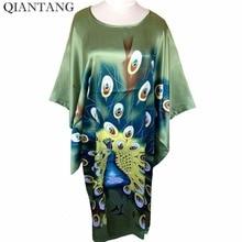 Hot Sale Green New Spring Chinese Womens Robe Silk Rayon Mujer Pijama Sleepwear Loose Bath Gown