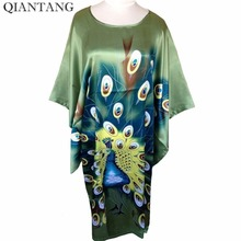 Hot Sale Green New Spring Chinese Womens Robe Silk Rayon Mujer Pijama Sleepwear Loose Bath Gown