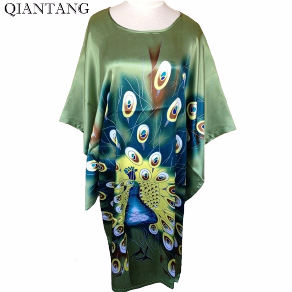 Sale Green Ladies Robe Spring Chinese Women Rayon Sleepwear Loose Bath Gown Nightgown Peafowl One Size Mujer Pijama S4020