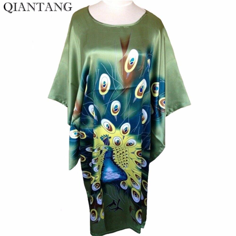Vente chaude Vert Dames Robe Printemps Chinois Femmes Rayon De Nuit Lâche Bath Robe Chemise de Nuit Paon Une Taille Mujer Pijama S4020