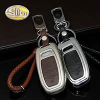 SNCN Car Styling Zinc Alloy KeyChain Clip Ring With Genuine Leather Key Case Holder Cover For Audi A4 A6 Q5 Q7 A3 A5 A7 A8 S5 S7
