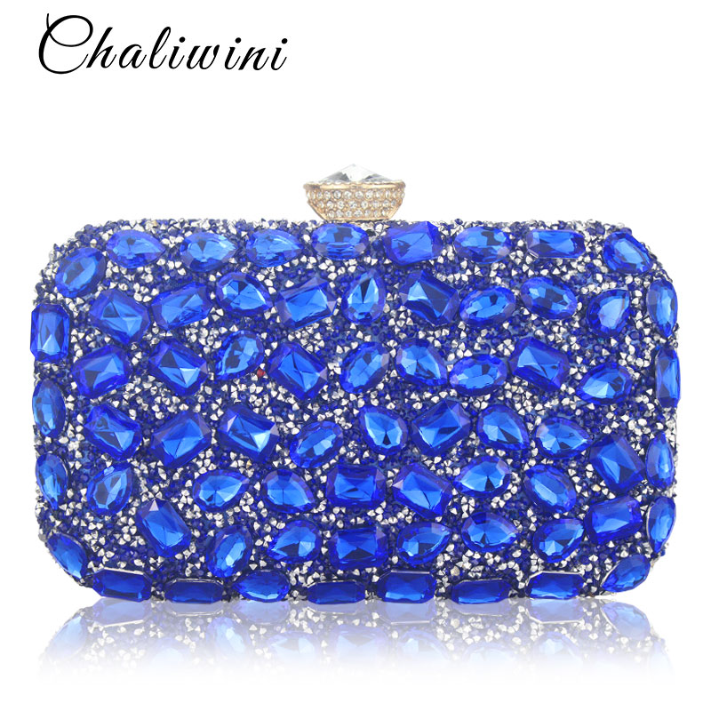 Chaliwini Women Evening Bag Gold Clutch Bags Ladies Blue Party Clutches Purple Wedding Clutch Purses