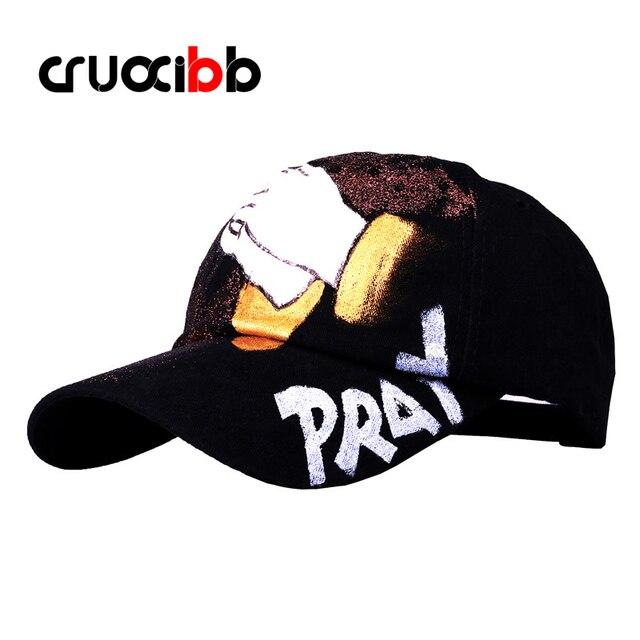 CRUOXIBB Brand Unique Baseball Caps Women Unisex Denim Cap Pray Hand Painting Jean Hats Snapback Bone Punk Fashion Gorras
