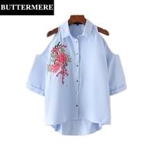 Buttermere Brand Women Embroidery Shirt 2017 Summer Off Shoulder Top Fashion Blue Cotton Three Quarter Cardigan Blouse Blusas