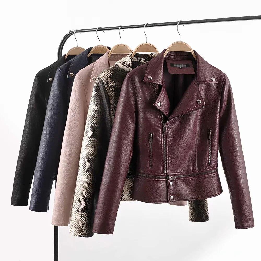 vintage women PU   leather   jacket spring-autumn fashion ladies moto-biker short bomb jacket high street girls snake skin coat chic